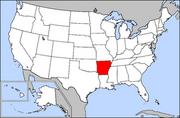 Map of USA highlighting Arkansas