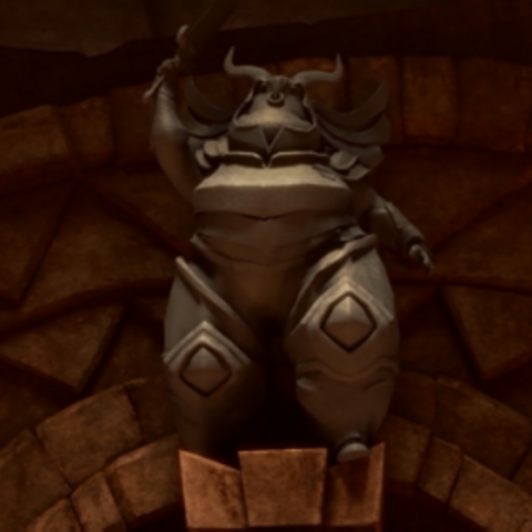 Deya statue/corpse in the Hero's Forge