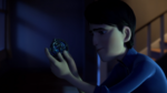 Becoming Part 1- Jim studying the amulet in his basement