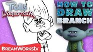 How to Draw BRANCH TROLLS WORLD TOUR