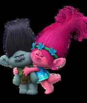 Dreamworks Trolls - Princess Poppy hugging Branch