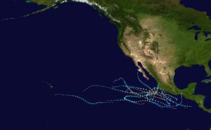 2011 Pacific hurricane season summary map