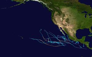 2017 Pacific hurricane season summary map