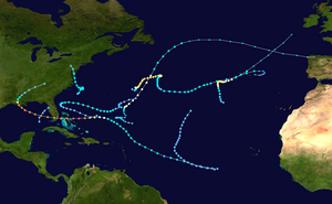 1992 Atlantic hurricane season summary map