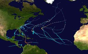 2016 Atlantic hurricane season summary map