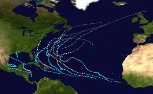 2011 Atlantic hurricane season summary map
