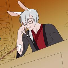 Kichiro in his library
