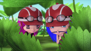 Guava and McSniffles are hiding behind the bushes
