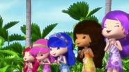Girls in beach clothes