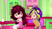 Sour is touching Strawberry's burned and electrified hair