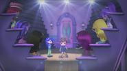 Huckleberry is dancing in front of his friends