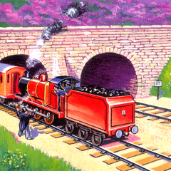 ダルビー画(赤い機関車B)