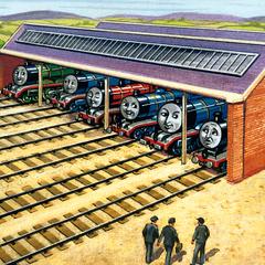 ダルビー画(奥から:ヘンリー、87546、赤い機関車、98462、ゴードン、エドワード)