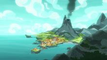 Rockhoof's volcano village home