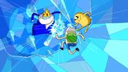 Finn, Jake e Rei Gelado ninjas lutando
