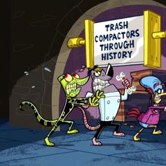 Snaptrap, The Chameleon, and Bird Brain entering the Trash Compactors Through History.