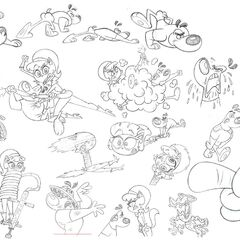 Sketches of Dudley, Kitty, and The Chameleon in <a href=