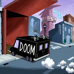 The D.O.O.M. Mobile enters hideout.