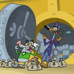 Larry and Ollie dropping bags of money.