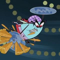 Lunch Lady Bug slicing pumpkin pie.