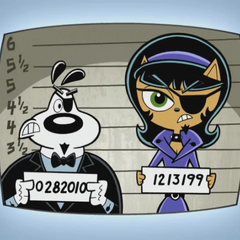 Dr. Rabies and Madame Catastrophe with jail numbers.