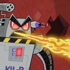 KIL-R shooting out flames.