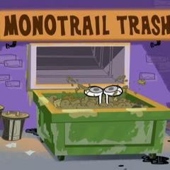 Dudley in monotrail trash