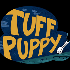 Dudley jumps away from the T.U.F.F. Puppy logo.