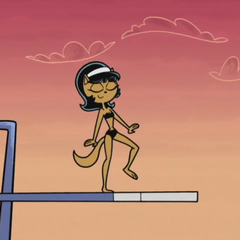 Kitty walking down the diving board...