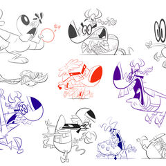 Sketches of Dudley, Snaptrap, The Chameleon, The Chief (in <a href=