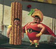 Tacoman and sidekick churro
