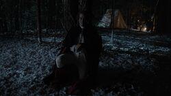 George Washington kneeling alone in the woods