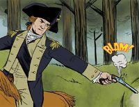 George Washington kills British soldier