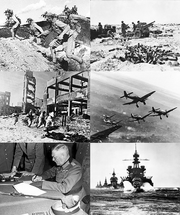 Clockwise from top left: Chinese forces in the Battle of Wanjialing, Australian 25-pounder guns during the First Battle of El Alamein, German Stuka dive bombers on the Eastern Front in December 1943, a US naval force in the Lingayen Gulf, Wilhelm Keitel signing the German Instrument of Surrender, Soviet troops in the Battle of Stalingrad