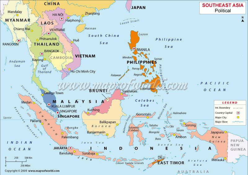 Beautiful Malaysia Philippines Singapore Map