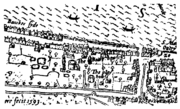 Bankside - the Bear Garden and the Rose Theatre - Norden's Map of London, 1593-1-
