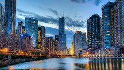 176156 rzeka drapacze chmur chicago usa