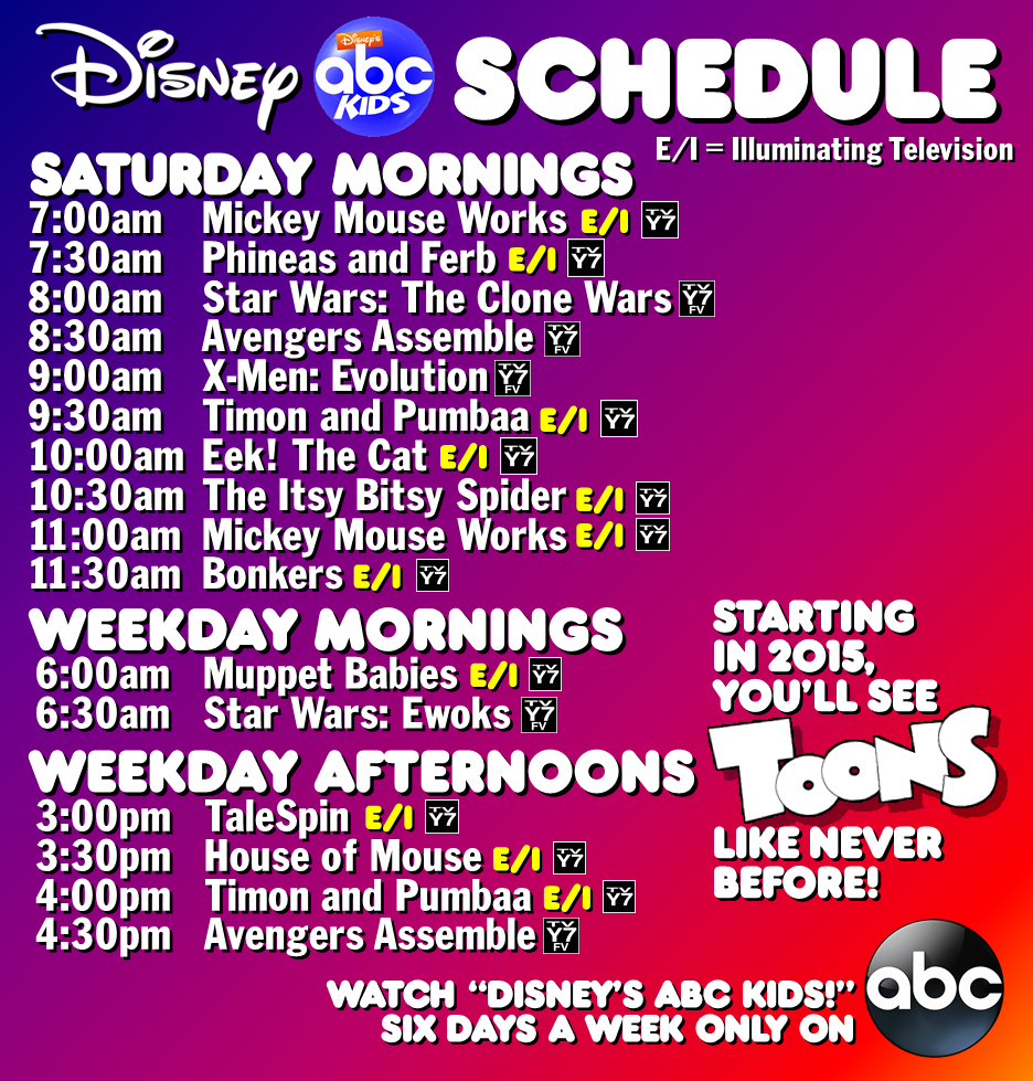 ABC Kids Rebrand Schedule