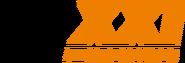 TV XXI 1 (чёрные буквы TV, оранжевые буквы XXI)