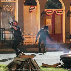 <small>Woodbury durante o ataque do grupo de Rick.</small>
