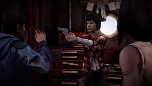 TWD Michonne - Sam aponta o revólver