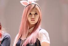 Sana wearing bunny ears