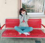 Momo sitting on a bench IG Update
