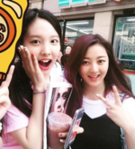 Nayeon and Jihyo with a fan