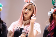 Sana with pink hair