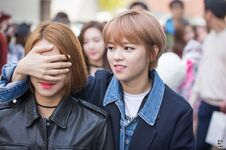 Jeongyeon covering Chaeyoung's eyes
