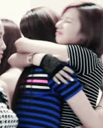 Mina and Sana hugging