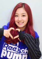 Jihyo making a heart sign