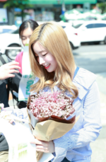Dahyun receiving flowers on her birthday