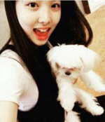 Nayeon with a dog
